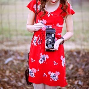 American Eagle Red Floral Peter Collar Dress